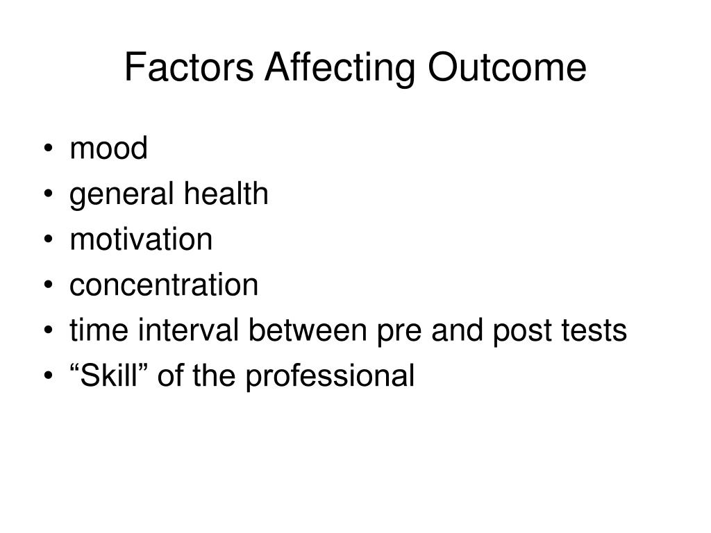 Factors Affecting Outcome