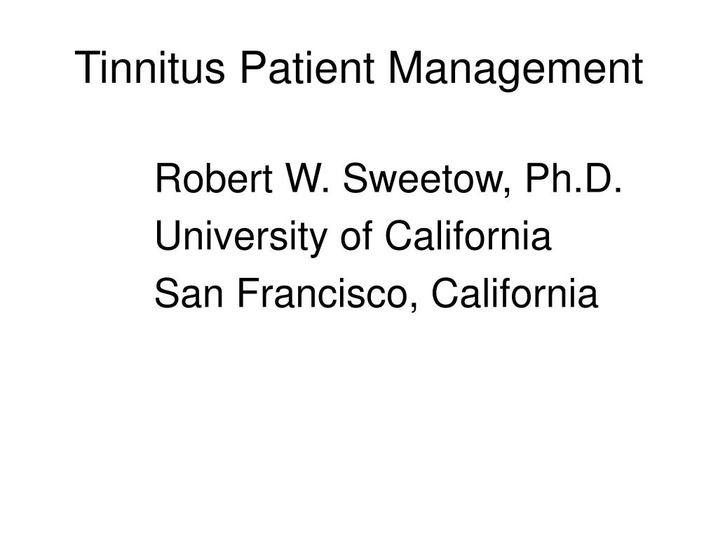 tinnitus patient management l.