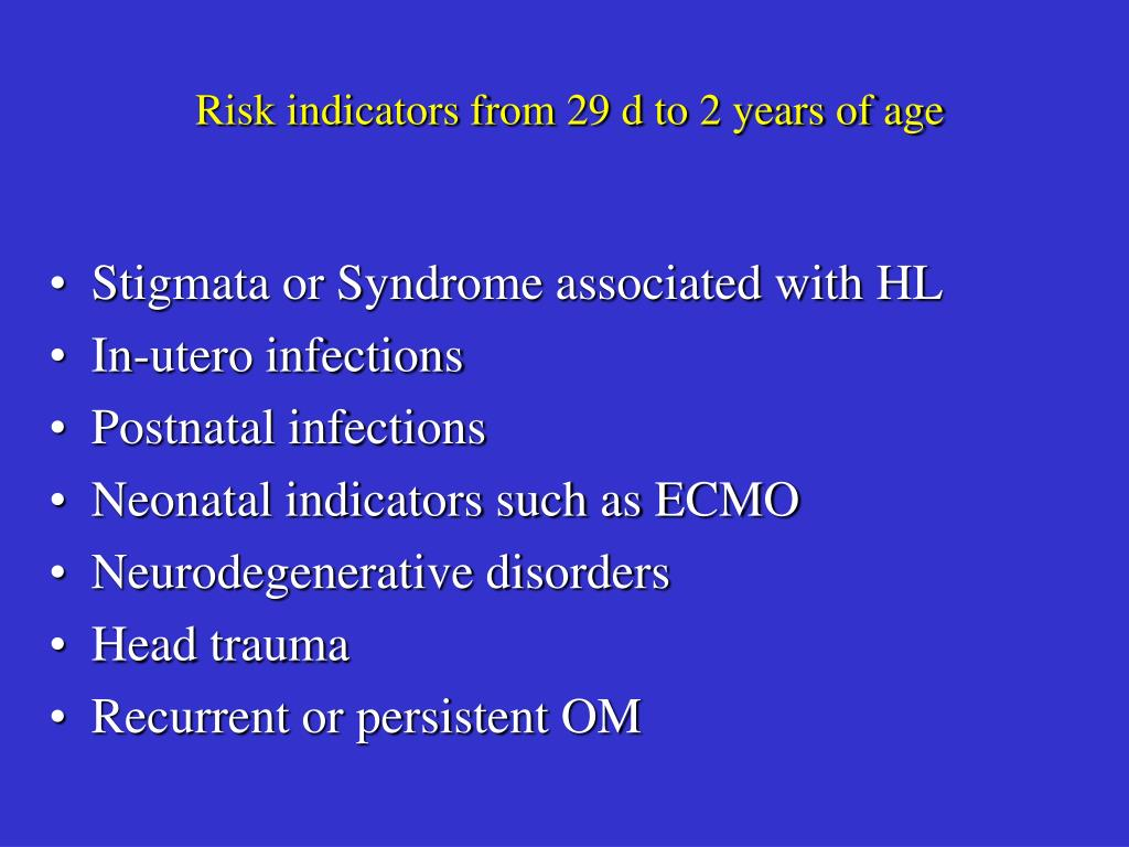 Risk indicators from 29 d to 2 years of age