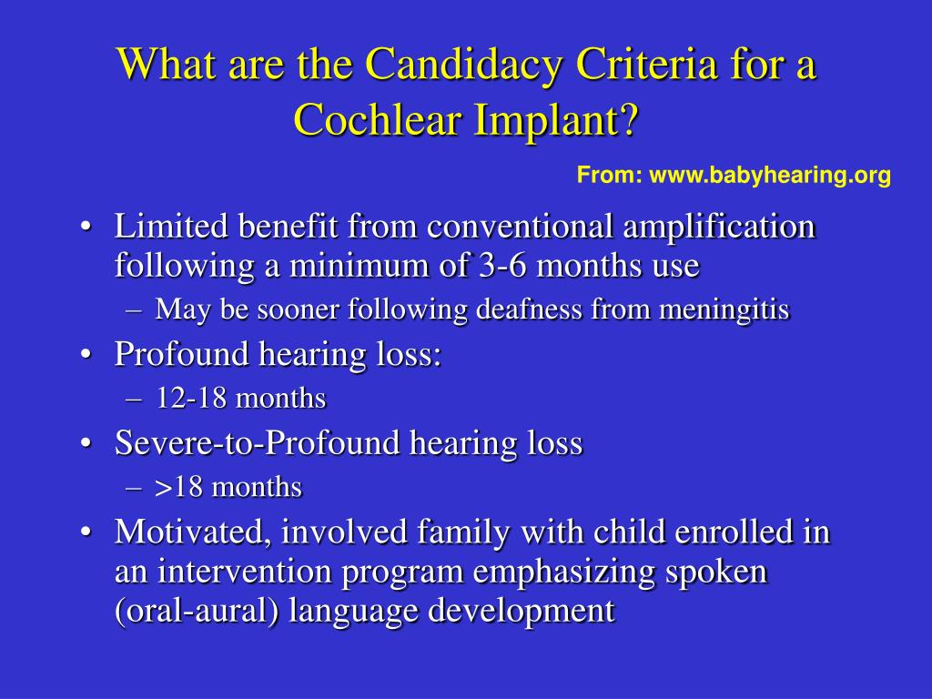 What are the Candidacy Criteria for a Cochlear Implant?