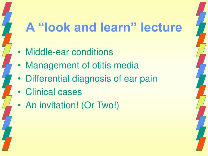 A look and learn lecture