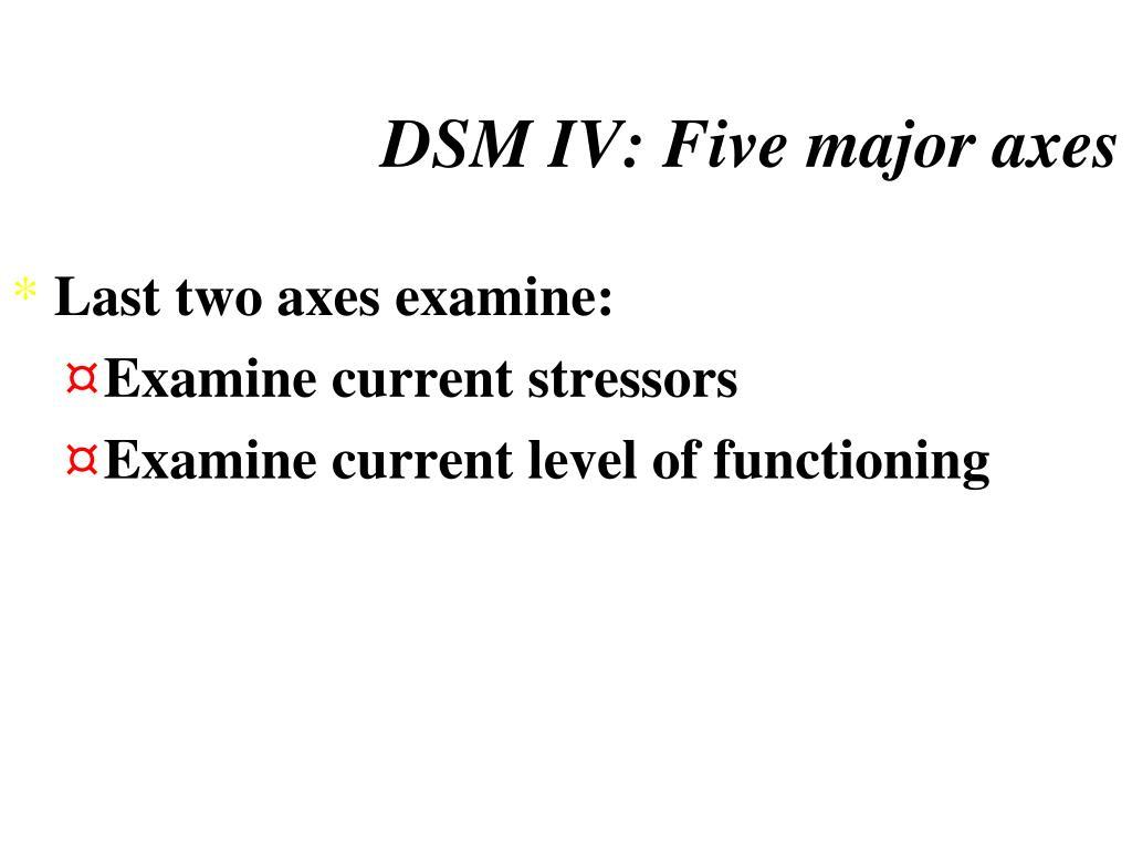 DSM IV: Five major axes