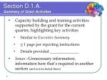 section d 1 a summary of grant activities