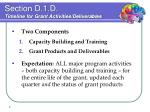 section d 1 d timeline for grant activities deliverables