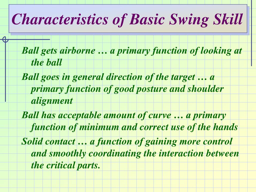Characteristics of Basic Swing Skill