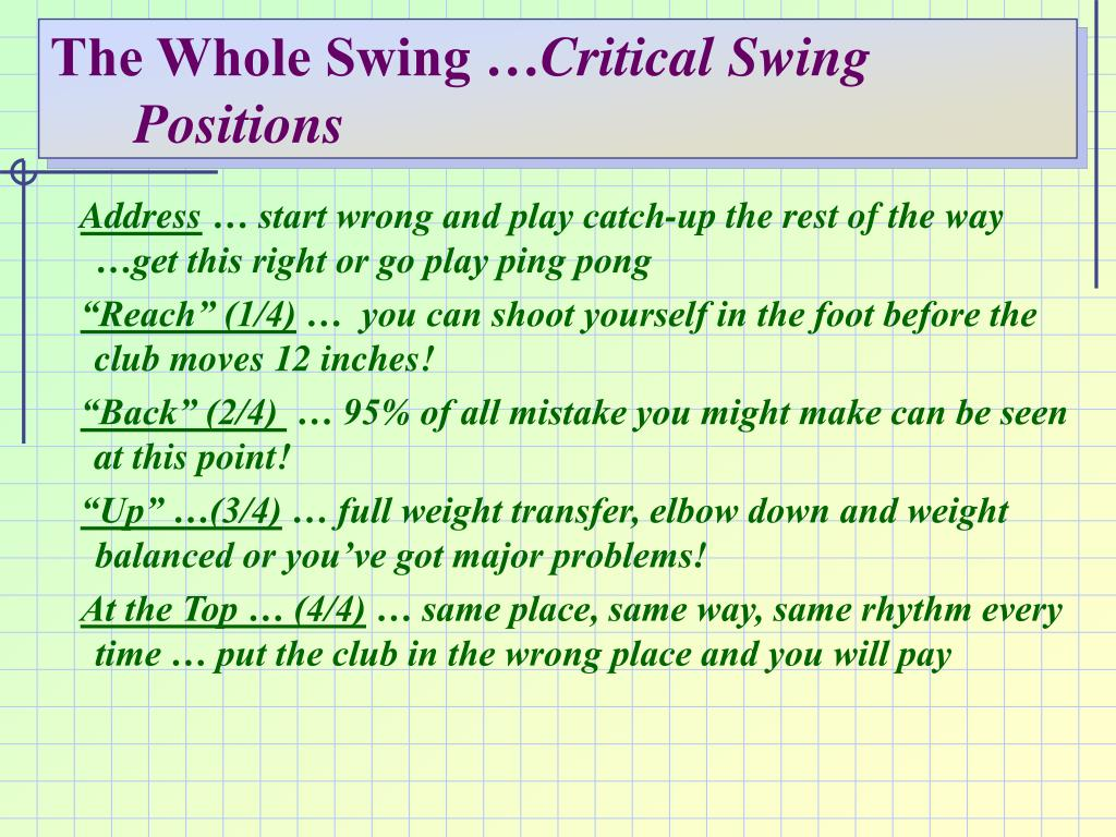 The Whole Swing …