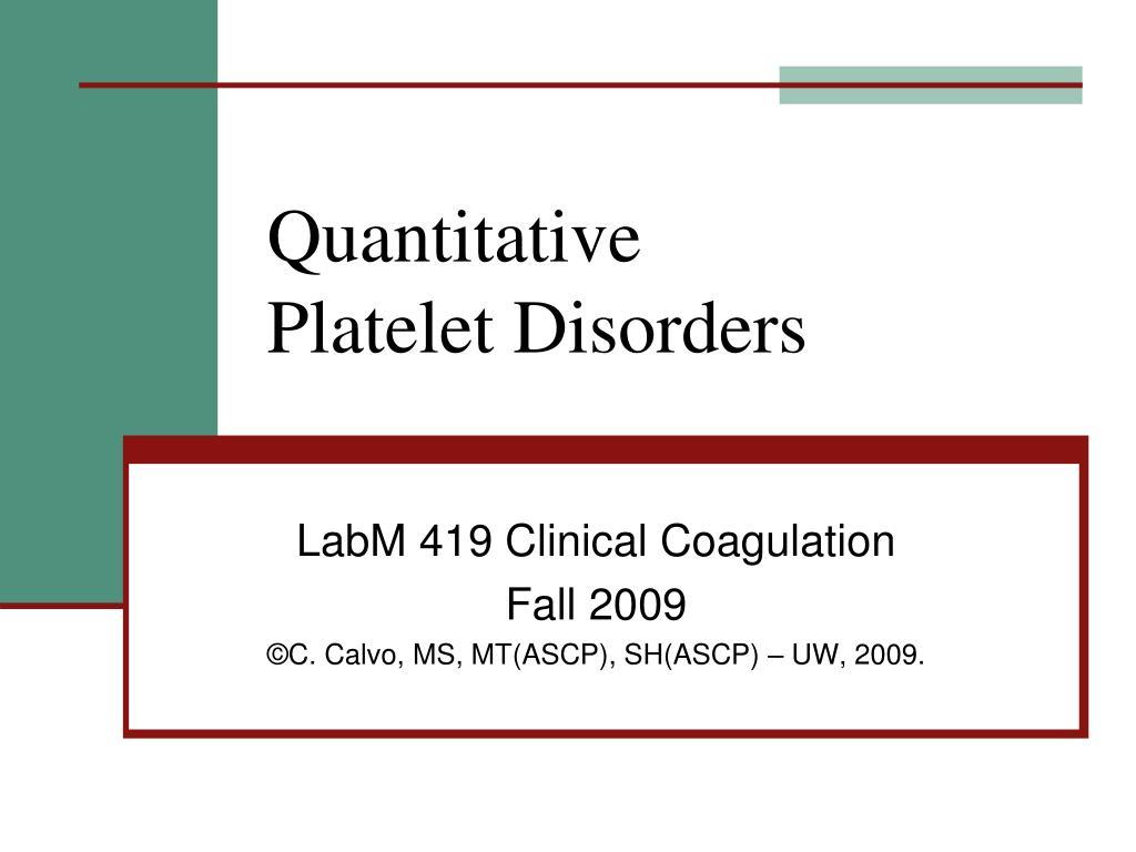 quantitative platelet disorders l.