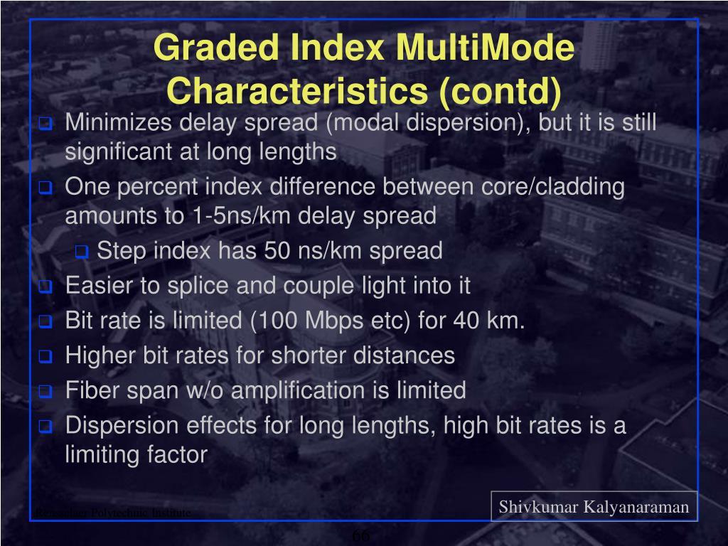 Graded Index MultiMode Characteristics (contd)