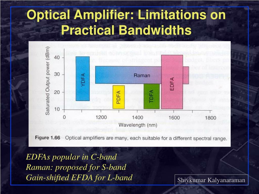 Optical Amplifier: Limitations on Practical Bandwidths