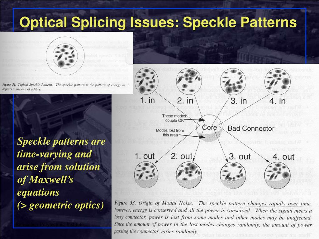 Optical Splicing Issues: Speckle Patterns
