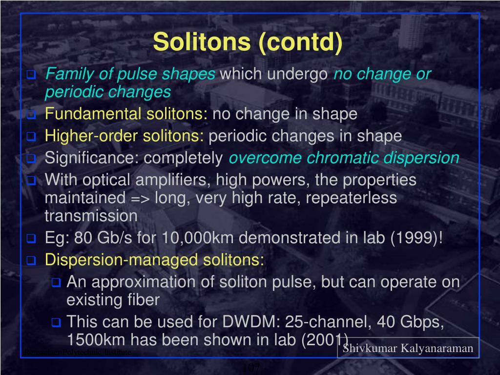 Solitons (contd)