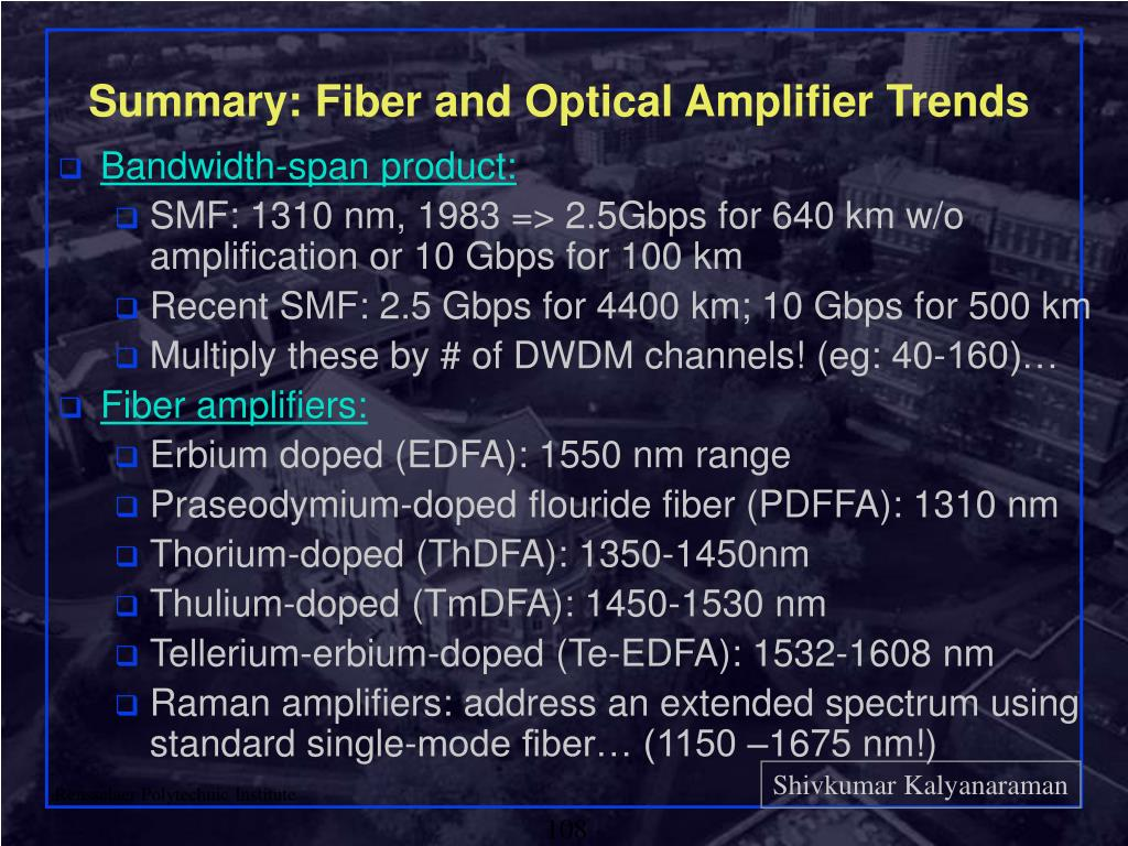 Summary: Fiber and Optical Amplifier Trends