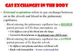 gas exchanges in the body