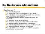 dr goldwyn s admonitions