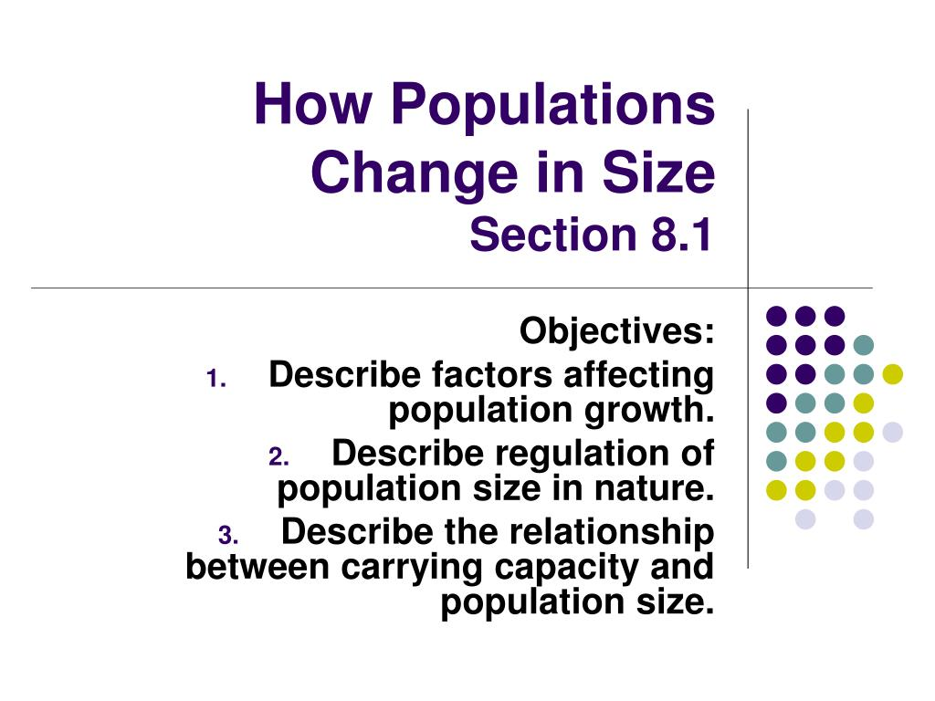 how populations change in size section 8 1 l.