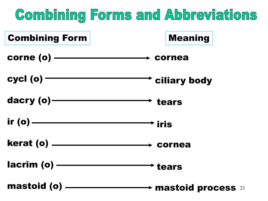Combining Forms & Abbreviations (corne)