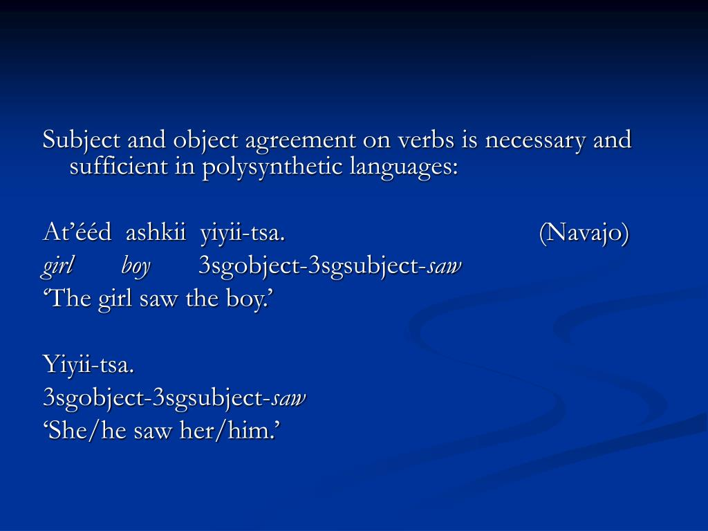 Subject and object agreement on verbs is necessary and sufficient in polysynthetic languages: