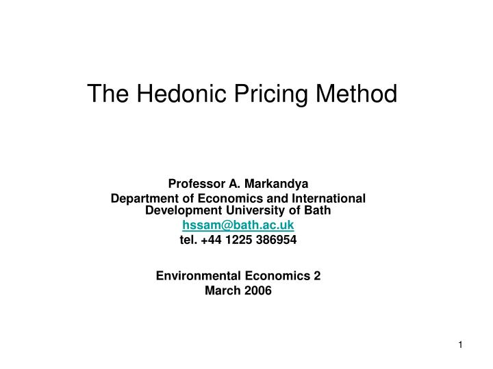 the hedonic pricing method n.