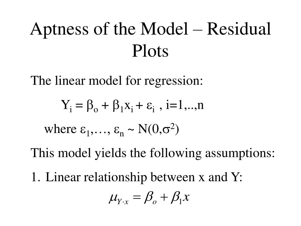 aptness of the model residual plots l.