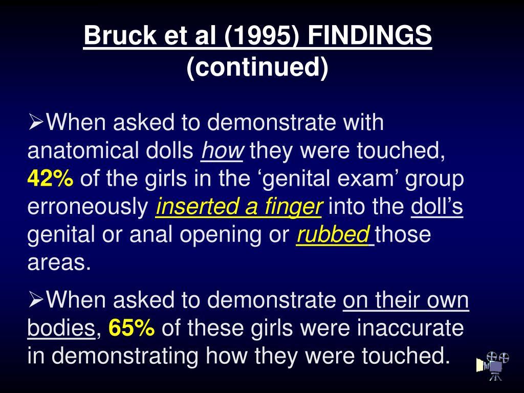 Bruck et al (1995) FINDINGS