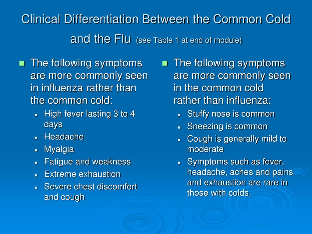 The following symptoms are more commonly seen in influenza rather than the common cold: