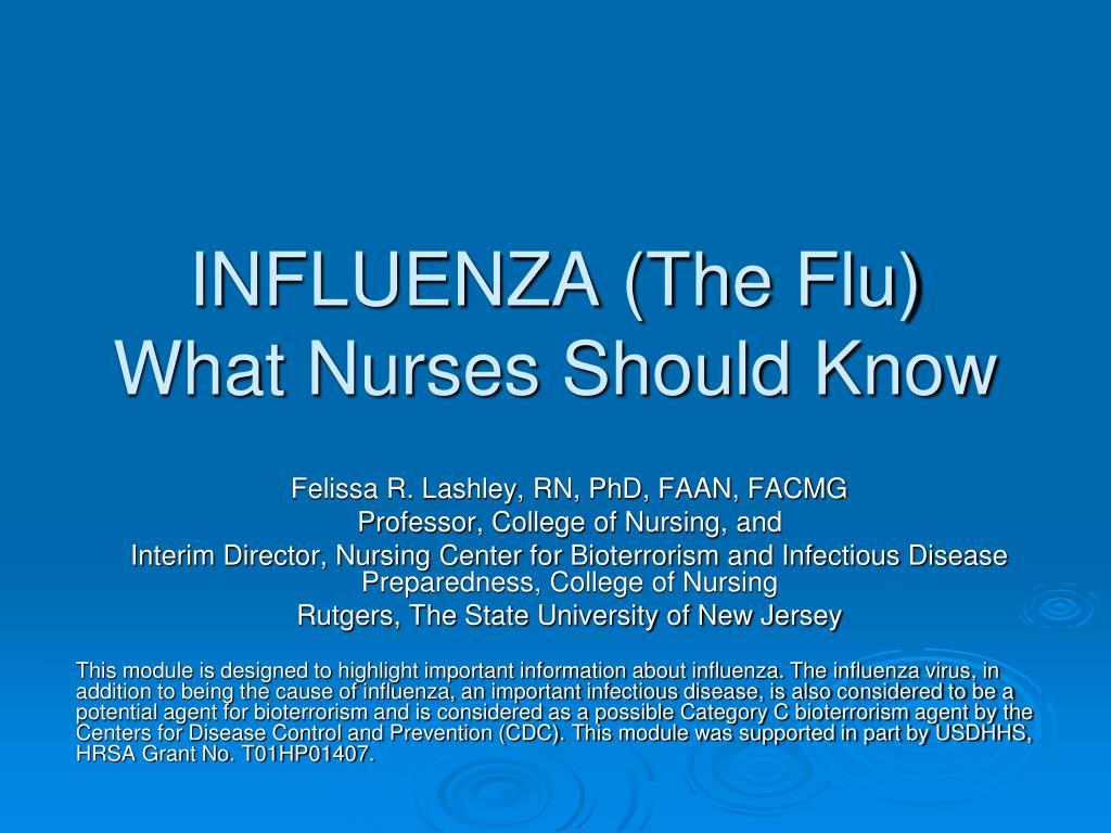 influenza the flu what nurses should know l.