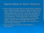 special notes on avian influenza