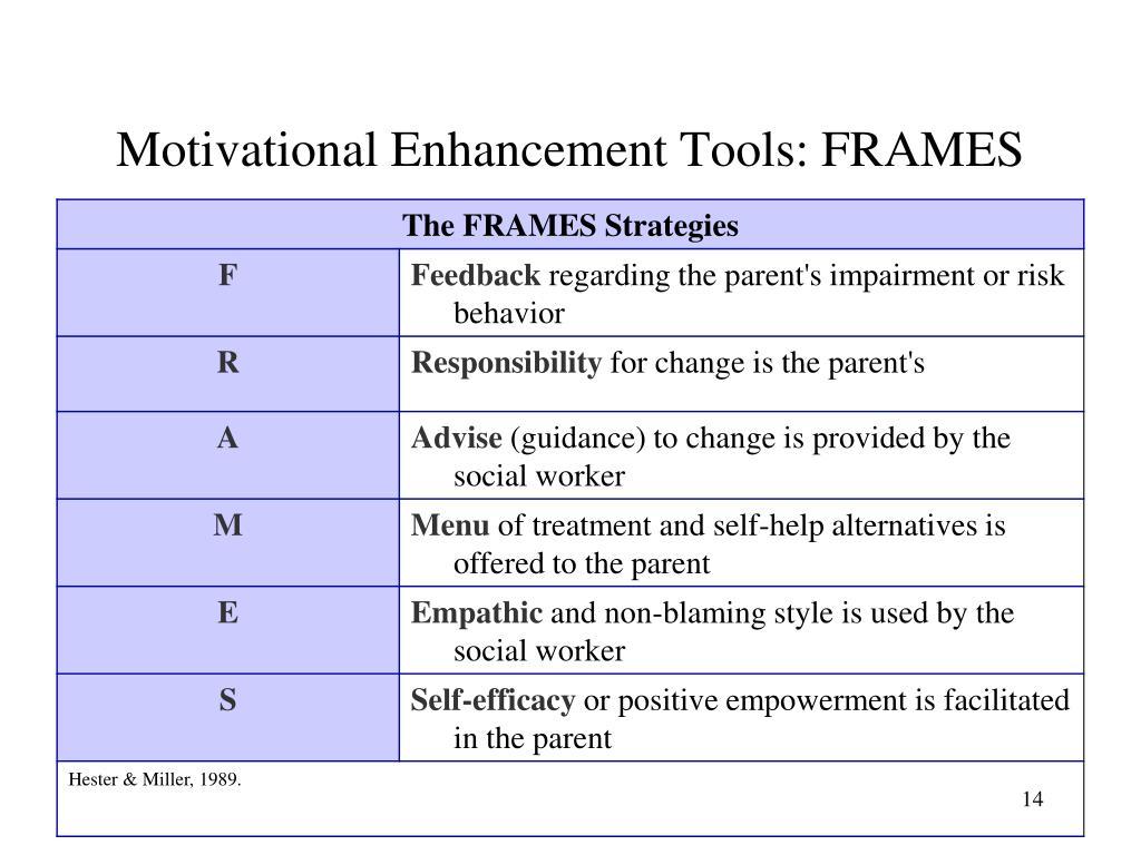 Motivational Enhancement Tools: FRAMES
