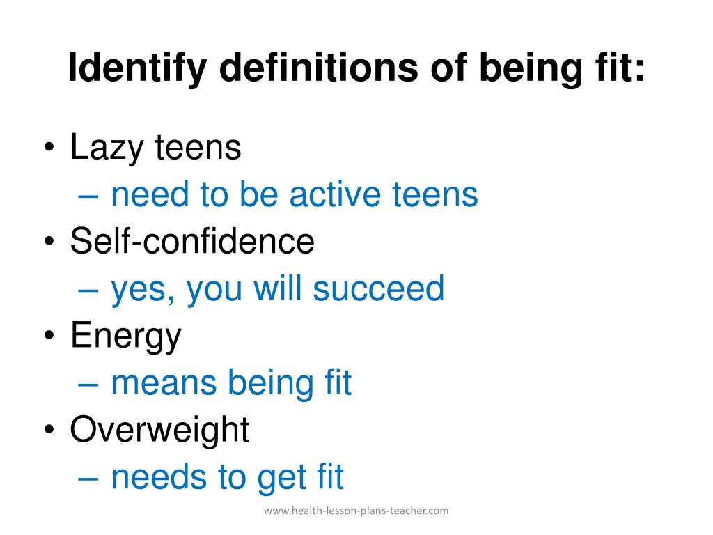 Identify definitions of being fit: