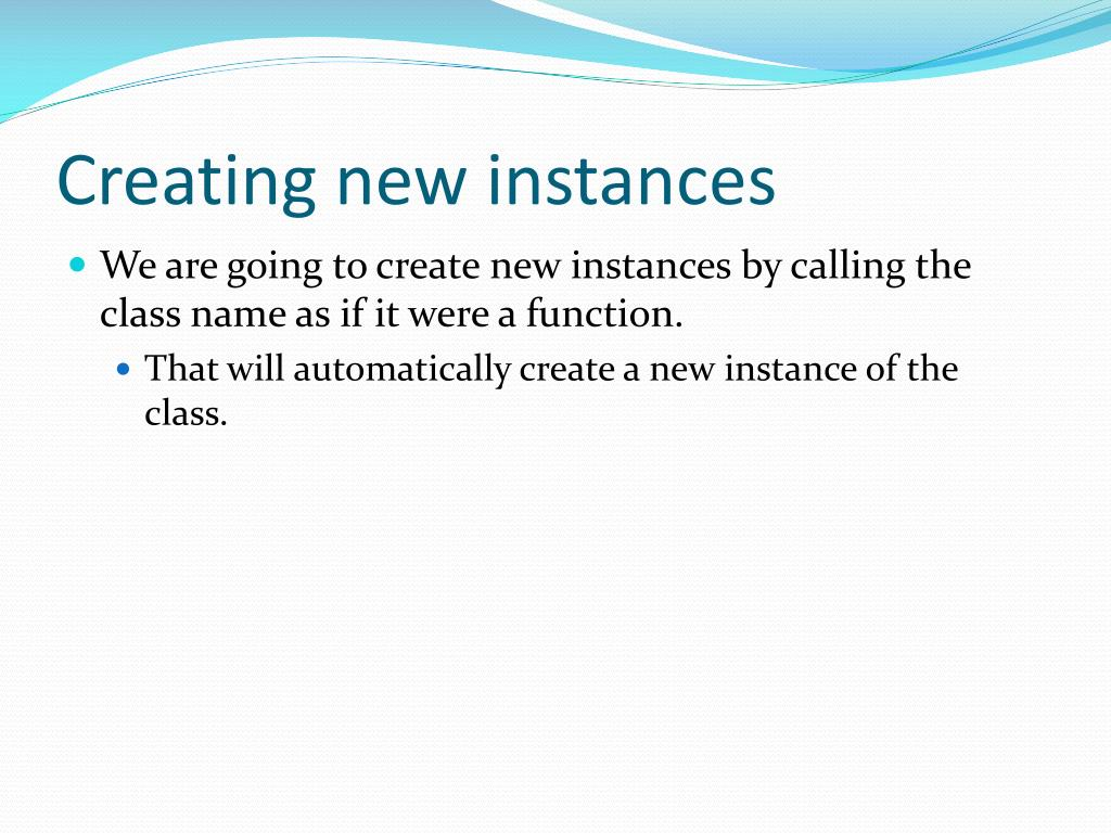 Creating new instances