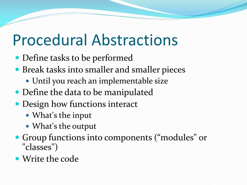 Procedural Abstractions