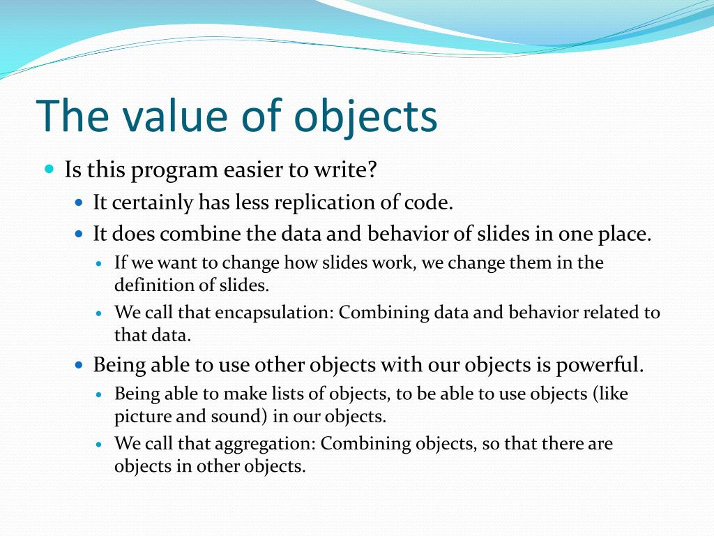 The value of objects