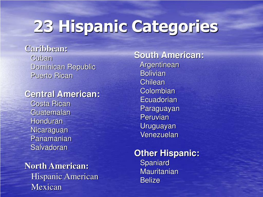 23 Hispanic Categories