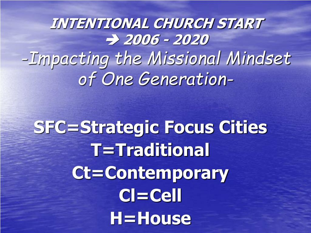 INTENTIONAL CHURCH START