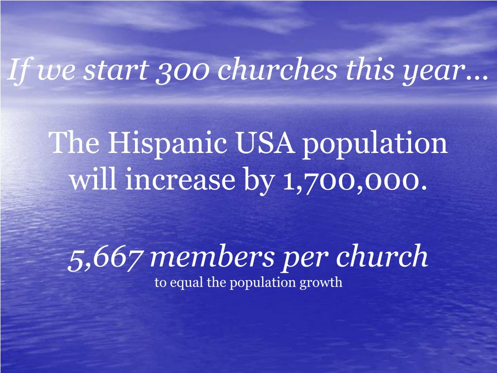 If we start 300 churches this year...