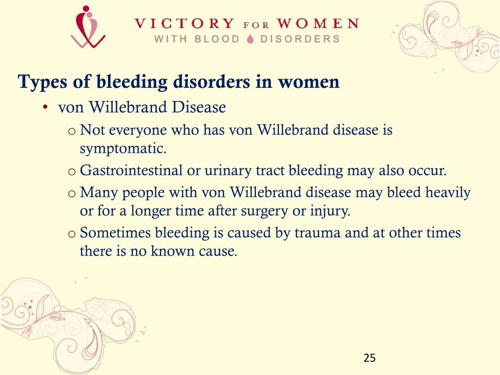 Types of bleeding disorders in women