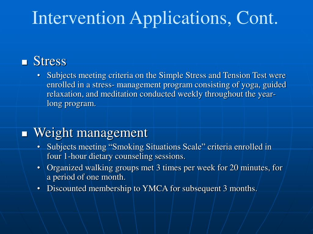 Intervention Applications, Cont.