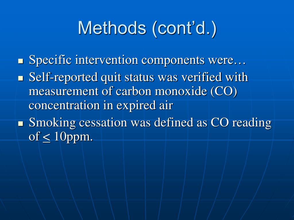 Methods (cont'd.)