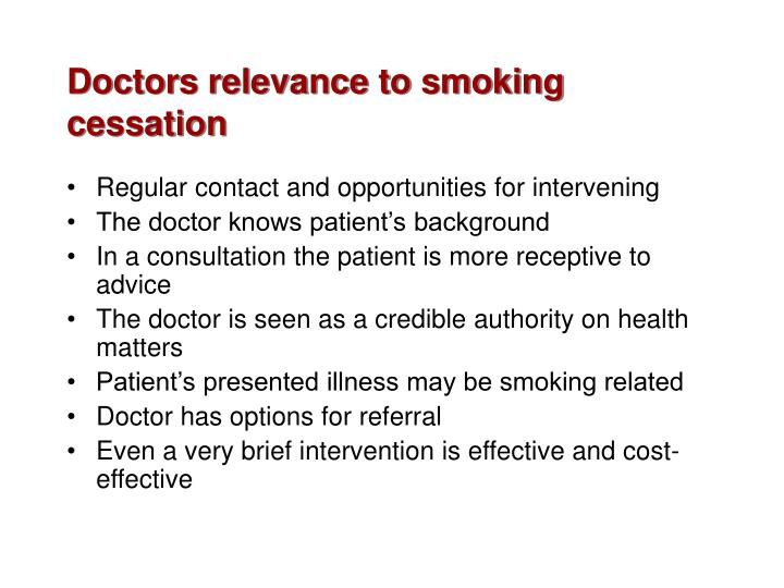 Doctors relevance to smoking cessation