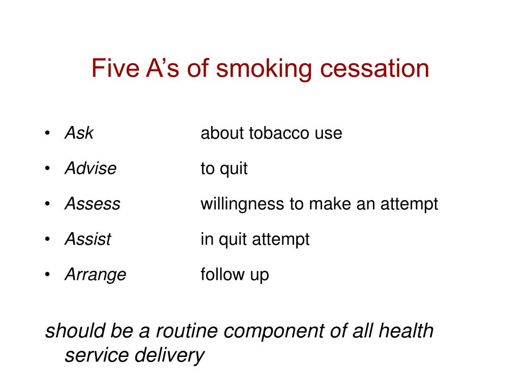 Five A's of smoking cessation