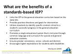 what are the benefits of a standards based iep