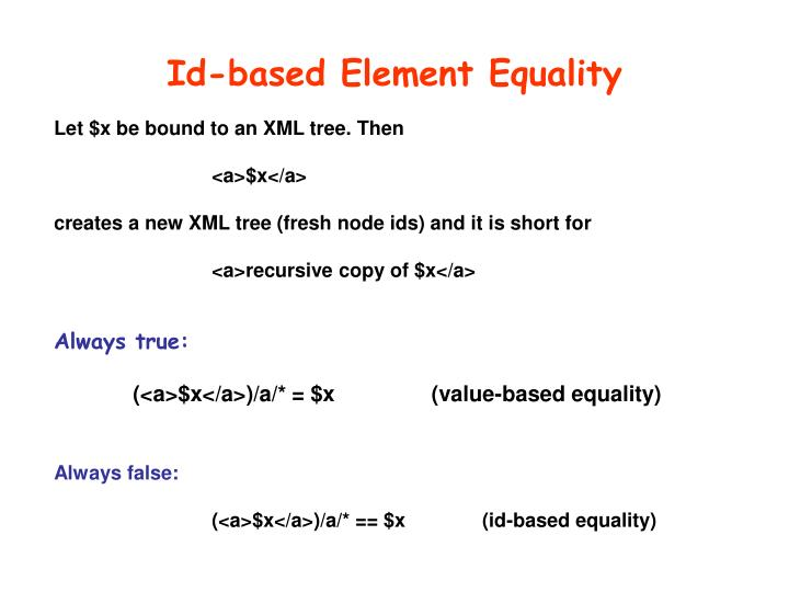 Id-based Element Equality