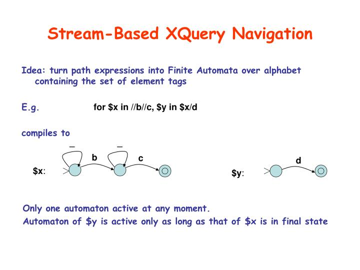 Stream-Based XQuery Navigation