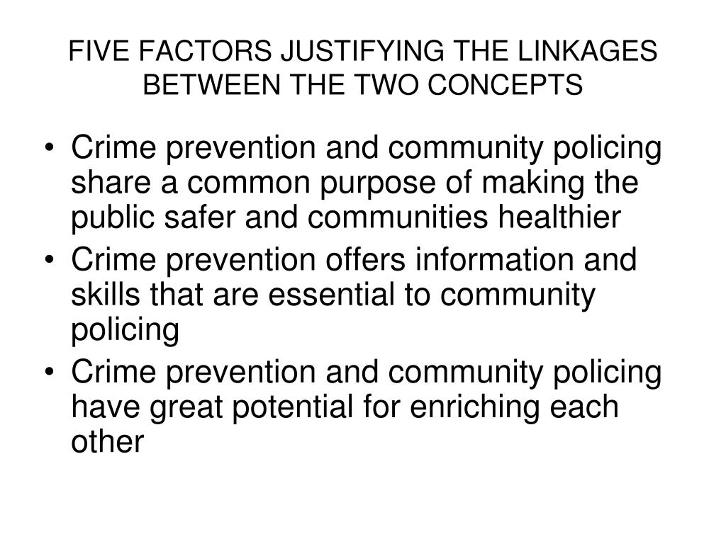 FIVE FACTORS JUSTIFYING THE LINKAGES BETWEEN THE TWO CONCEPTS