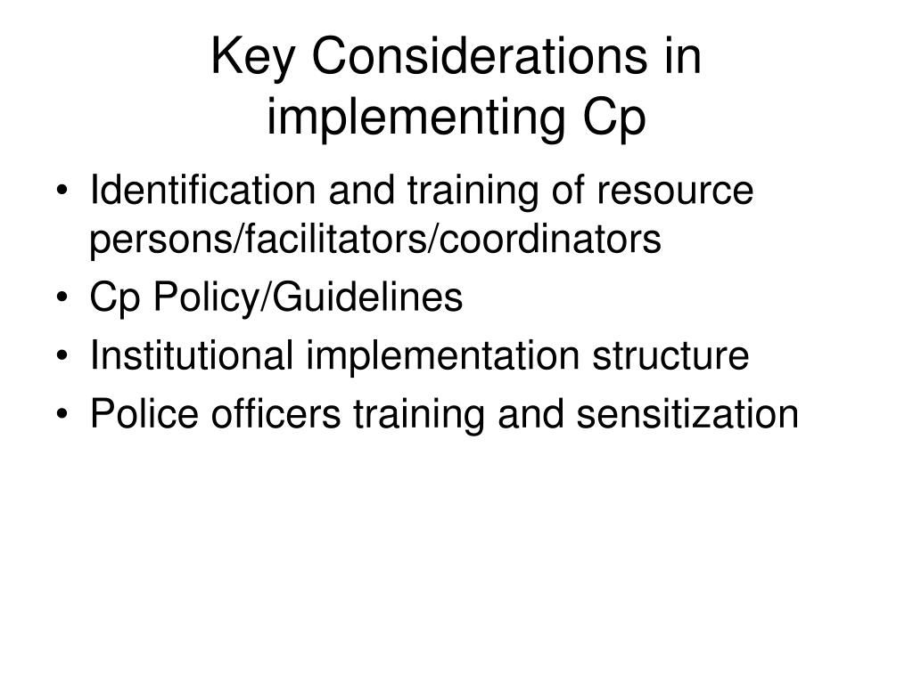 Key Considerations in implementing Cp