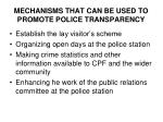 mechanisms that can be used to promote police transparency