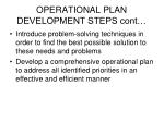 operational plan development steps cont