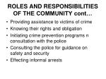 roles and responsibilities of the community cont