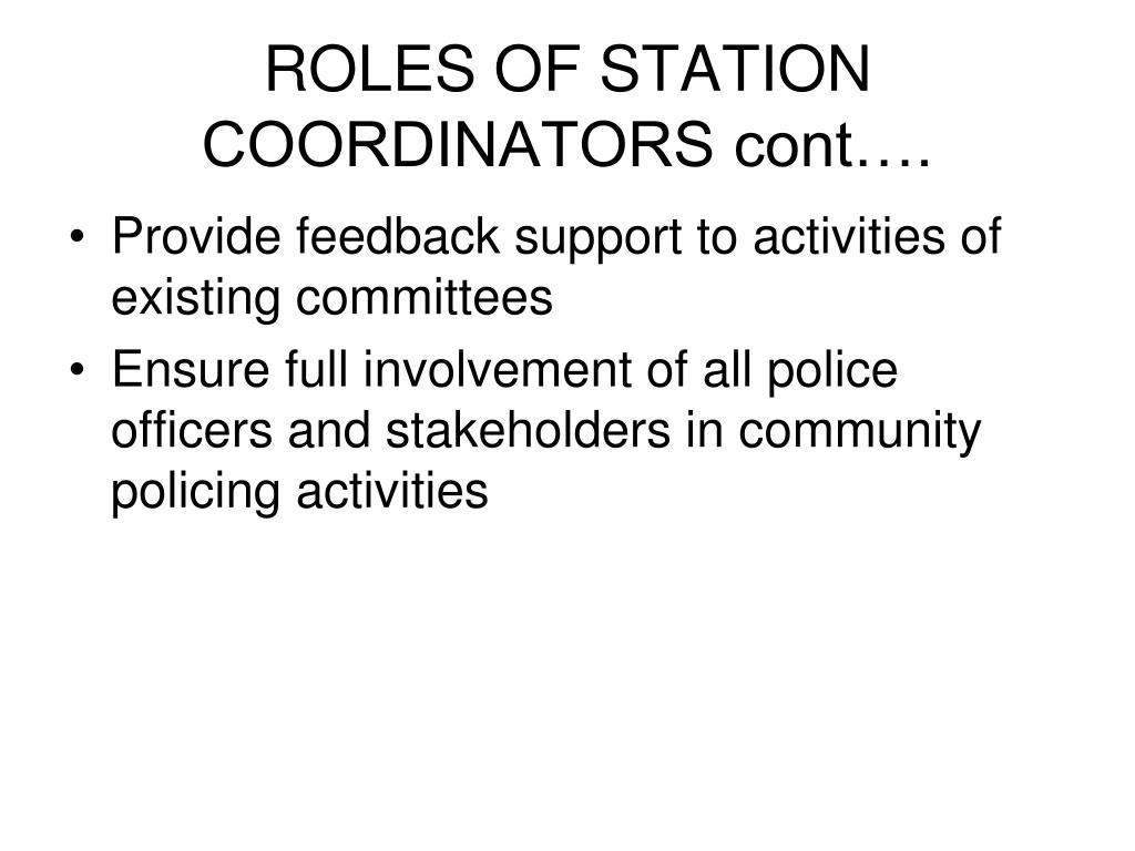 ROLES OF STATION COORDINATORS cont….