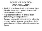 roles of station coordinatrs